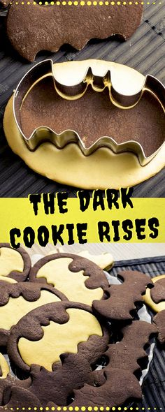Batman Kekse aus Schwarz-Weiß-Gebäck-Teig. Lecker uns witzig zugleich. Entweder für Halloween oder als Weihnachtsplätzchen. #halloween #batman #kekse