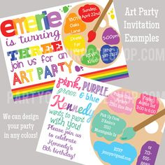 Rainbow Art Party Decorations Package Fully Assembled This package includes: Three Length Birthday Banner 2 Large Centerpiece Sticks 12 Cupcake Toppers 12 Favor Tags 24 Snack Cups 24 Straws Looking for an invite to match? Birthday Painting, Art Birthday, Birthday Ideas, Art Party Invitations, Invites, Ciel Art, Art Party Decorations, Jasmin Party, Art Themed Party
