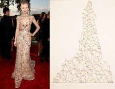 made some more fashion & art pairings inspired by the red carpet at the 2012 Grammys