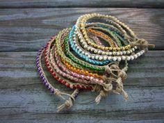 Summer Macrame Bracelets Braided Hemp Bracelet Stacking Bracelet Braided Bracelet Natural Hemp Bracelets Hippie Boho Bohemian Gypsy Jewelry