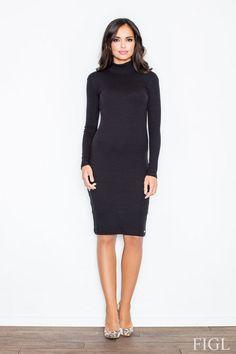 Bawełniana sukienka do kolan w kolorze czarnym z interesującym golfem