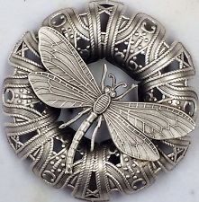 "LARGE 2 3/4"" STERLING  Overlay~FILIGREE Stamped Brass~""DRAGONFLY""~Picture Button"
