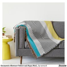 Geometric Abstract Yellow and Aqua Modern Pattern Throw Blanket