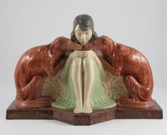 Art Deco Etling pottery figure group cast from a model by Marcel Galliard