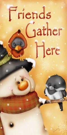 Christmas Snowman 'Friends Gather Here' Bonecos de Neve - Leda - Picasa Web… Christmas Signs, Christmas Pictures, Christmas Snowman, Christmas Projects, Vintage Christmas, Christmas Time, Christmas Ornaments, Xmas, Merry Christmas