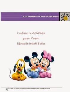 Cuaderno de Vacaciones Multidisciplinar para Educación Infantil de 3 años, de Al-Alba, que contiene bloques de fichas referidos a formas geométricas, números, gramotiricidad, preescritura, puzzles, conceptos y series.