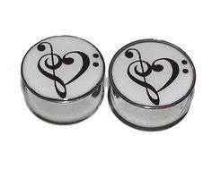 "Love of Music Plugs - 1 Pair - Sizes 2g, 0g, 00g, 7/16"", 1/2"", 9/16"", 5/8"", 3/4"", 7/8"" & 1"" on Etsy, $19.95"