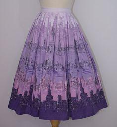 1950s Novelty Print Skirt / Venice Venetian Scenes Rialto Bridge Saint Mark's Basilica / XS Extra Small / 23 24 Waist