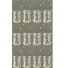 12 Stück Windlichter mit Henkel Windlicht Teelichthalter Teelichgläser