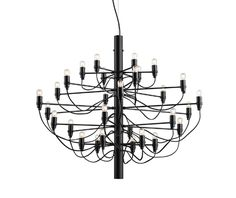 Buy the 2097 / 30 Limited Edition Matt Black Pendant Light by Flos from our designer lighting collection at Chaplins - Showcasing the very best in modern design. Suspension Cable, Mid Century Chandelier, Black Pendant Light, World Of Interiors, Steel Structure, Showcase Design, Incandescent Bulbs, Chrome Plating, Polished Brass