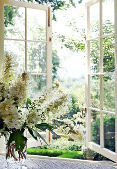 I can just smell the warm, scented breeze...lovely window for the kitchen...