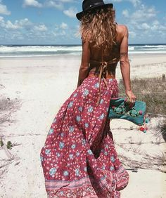 Craving sunshine with this gorgeous pic of @anita_ghise in her #spellbyronbay maxi skirt  Pretty red and turquoise colours available. ________________________ #maxiskirt #beach #sunshine #boho #bohemian #byronbay #weekend