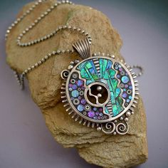 Sterling Silver pendant necklace with iridescent purple green blue mosaic inlay polymer clay sterling diamond cut bead chain
