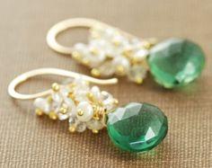 Seafoam Chalcedoon Seed Pearl Earrings handgemaakte door aubepine
