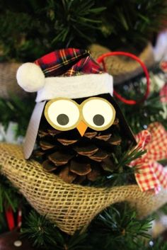 Christmas pine cone owl ornaments, 2015 Christmas handmade owl ornaments idea - LoveItSoMuch.com