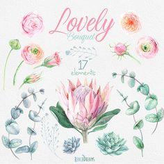 Wedding Watercolor Flowers Protea Ranunculus by ReachDreams