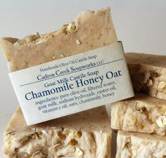 Made with olive oil and goat milk, wild honey, oats, and homegrown chamomile flowers. Great for dry, stressed skin. Lightly sweet honey smell (I used loca Castile Soap Recipes, Homemade Soap Recipes, Honey Soap, Shea Butter Soap, Soap Labels, Soap Packaging, Goat Milk Recipes, Homemade Business, Homemade Essential Oils