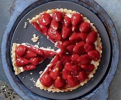 Strawberry Shortbread Tart with Orange-Ricotta Cream