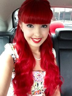 pin up red hair, Hair Color For Fair Skin, Red Hair Color, Gothic Hairstyles, Cool Hairstyles, Hair Styles 2014, Curly Hair Styles, Dark Red Hair Burgundy, Long Auburn Hair, Long Hair