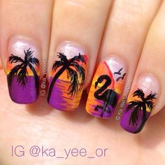 I arranged some cooler nail art for you that you can do yourself at home. Check out the collection of summer nail art designs & ideas of Fancy Nails, Cute Nails, Pretty Nails, Beach Nail Art, Beach Nails, Nagellack Design, Nagellack Trends, Nail Art Tropical, Style Tropical