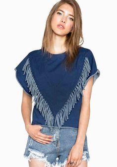 Blue Plain Tassel Fashion Short Sleeve Denim T-Shirt