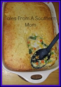 Chicken Pot Pie with Cornbread Crust Ingredients One pound of cooked chicken cut in cubes 1 bag of frozen mixed vegetables 2 cans of Cream of Chicken Soup 2 Boxes Cornbread Muffin mix (I use Jiffy) Preheat oven to 400 … Continue reading »