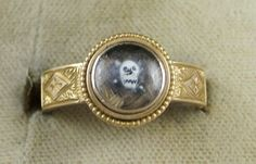 Victorian Crystal Skull Mourning 15ct Gold Ring | eBay