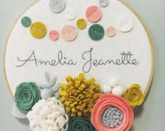 Embroidery Hoop Art Wall Art Hello 3 dimensional felt by nolaandvi