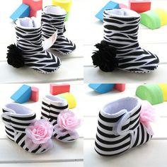 Retail newborn zapatos de bebe, zebra baby slip shoes infant, shoes flower girls baby soft sole winter boots high help  R1017