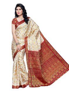 MIMOSA Silk Saree(65-HLFWHITEMARUN_Beige & Red): Amazon.in: Clothing & Accessories