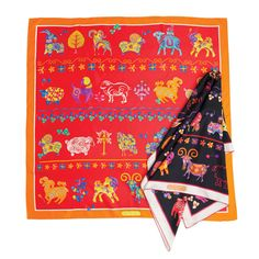 Salvatore Ferragamo Goat & Sheep Printed Scarf for Chinese New Year