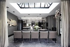 open plan kitchen dining in shades of soft grey Open Plan Kitchen Dining, Dinner Room, Grey Houses, Lounge Design, Interior Decorating, Interior Design, Glass Roof, Luxury Living, Kitchen Interior