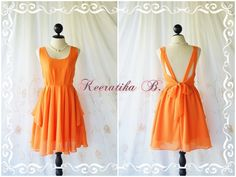 A Party Dress V Shape Orange Dress Orange by LovelyMelodyClothing