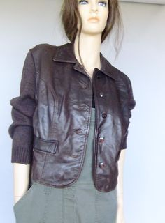 leather cardigan, leather sweater, leather jacket, mod, 60s vintage sweater, retro sweater by vintage2049 on Etsy