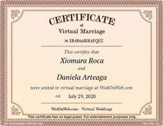 Marriage Certificate - Virtual weddings for fun by WEDonWEB.
