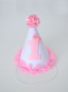 Pretty Pink and White 1st Birthday Party Hat by LittleMissCharlie