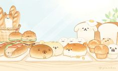 Cute Food Drawings, Cute Kawaii Drawings, Cute Animal Drawings, Kawaii Cat, Kawaii Chibi, Cute Chibi, Chibi Food, Dog Bread, Bread Bun