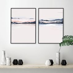 Blush Walls, Navy Walls, Pink Walls, Pink Wall Art, Wall Art Sets, Minimalist Landscape, Wall Maps, Color Rosa, Watercolor Print