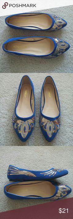"Olivia Miller Sequined Ballet Flats Olivia Miller ""Eva"" Sequined Pointy Toe Ballet Flats. Royal blue suede with gold sequins. Size 7M. Never worn! Olivia Miller Shoes Flats & Loafers"