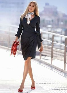That dress and neck scarf!  I love Fresh Fashion: 50 Amazing Women's Business Fashion Trends
