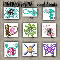 MONOGRAM vinyl decals | name | initial | decal | sticker | car decals | car stickers | laptop sticker - 28-36