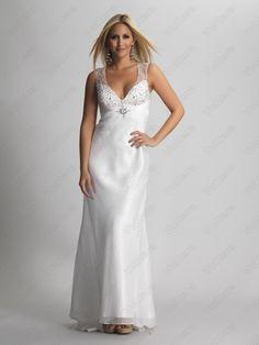 Deep V Neck Beaded White Long Prom Dress - Vuhera.com