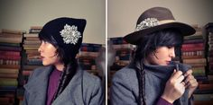 Brooches in hat and cap
