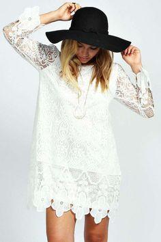 Maddie Flower Lace Long Sleeve Smock Dress alternative image