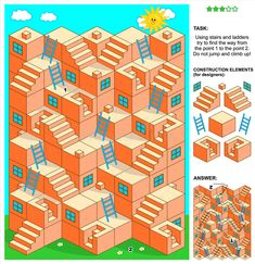 maze game with stairs and ladders. maze game: Using stairs and ladders try , Printable Activities For Kids, Book Activities, Maze Games For Kids, Maze Drawing, Maze Design, Design Design, Design Trends, Logo Design, Interior Design