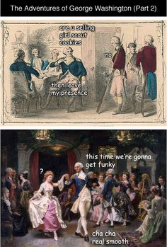 "tastefullyoffensive: "" The Adventures of George Washington (Part 2) by LadyHistory [more] Previously: Part One """