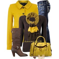 Brown with Yellow, created by shannonmarie-94 on Polyvore