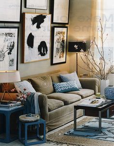 Gorgeous blue & brown living room: Luxe fabrics + modern artwork, from InStyle magazine | Flickr - Photo Sharing!