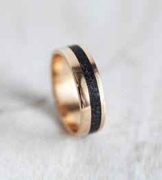 Unisex Black Spinel Gold Wedding Band - Praise