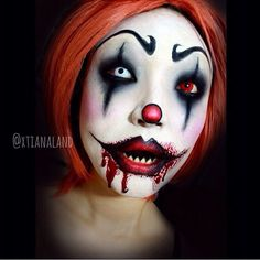 Scary clown makeup effect idea / Paired with one red contact lens -> http://www.pinterest.com/pin/350717889705796523/ - and one white contact lens -> http://www.pinterest.com/pin/350717889705763104/